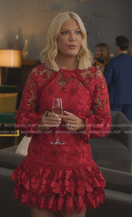 Tori's red floral lace tiered dress on BH90210