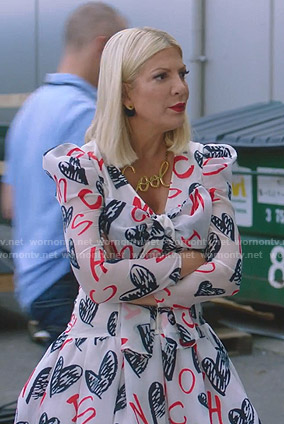 Tori's white heart print dress on BH90210