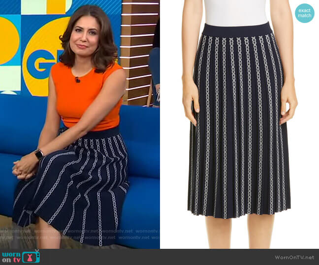 Gemini Link Jacquard Pleated Skirt by Tory Burch worn by Cecilia Vega  on Good Morning America