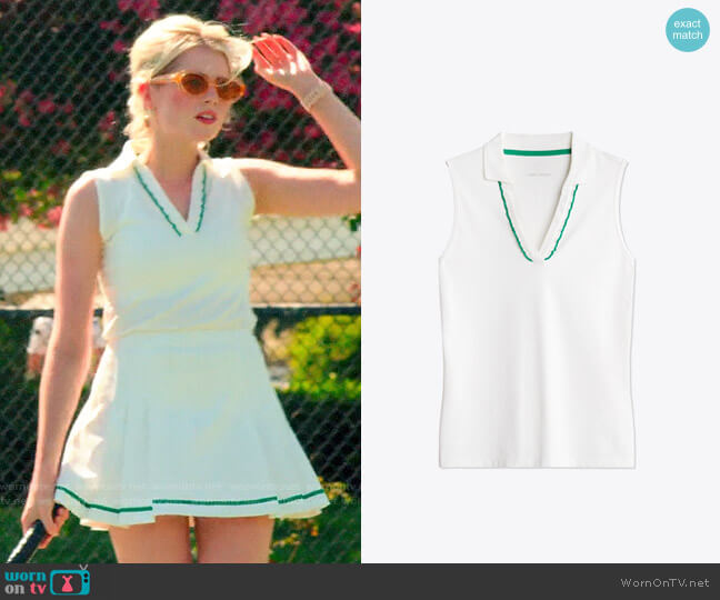 Tory Sport Performance Pique Ruffle Sleeveless Polo worn by Astrid (Lucy Boynton) on The Politician