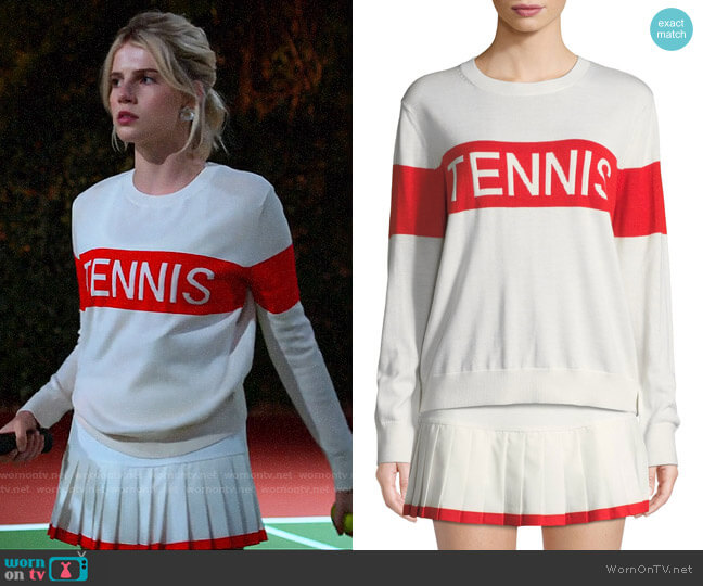 Tory Sport Performance Cashmere Tennis Sweater and Pleated Skirt worn by Astrid (Lucy Boynton) on The Politician