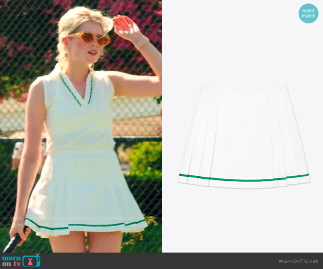 Tory Sport Tech Twill Pleated Tennis Skirt worn by Astrid (Lucy Boynton) on The Politician