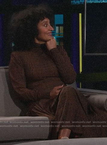 Tracee Ellis Ross's brown crocodile print dress on A Little Late with Lilly Singh