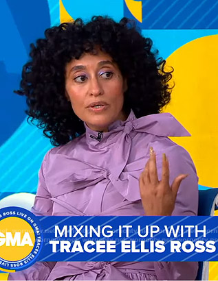Tracee Ellis Ross's purple bow detail dress on Good Morning America