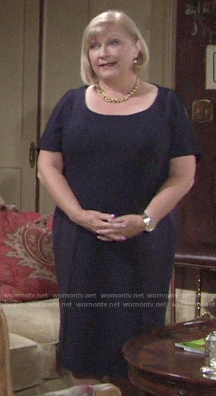 Traci's navy short sleeved dress on The Young and the Restless