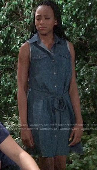 Trina's denim shirtdress on General Hospital
