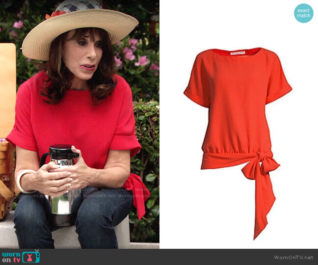 Trina Turk On the Rock Tie Hem Top worn by Esther Valentine (Kate Linder) on The Young & the Restless