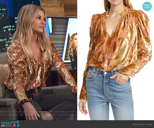 Camilla Velvet Devore Blouse by Ulla Johnson worn by Morgan Stewart  on E! News