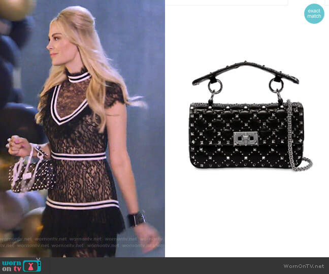 Small Rockstud Spike Leather Bag by Valentino worn by Kameron Westcott  on The Real Housewives of Dallas