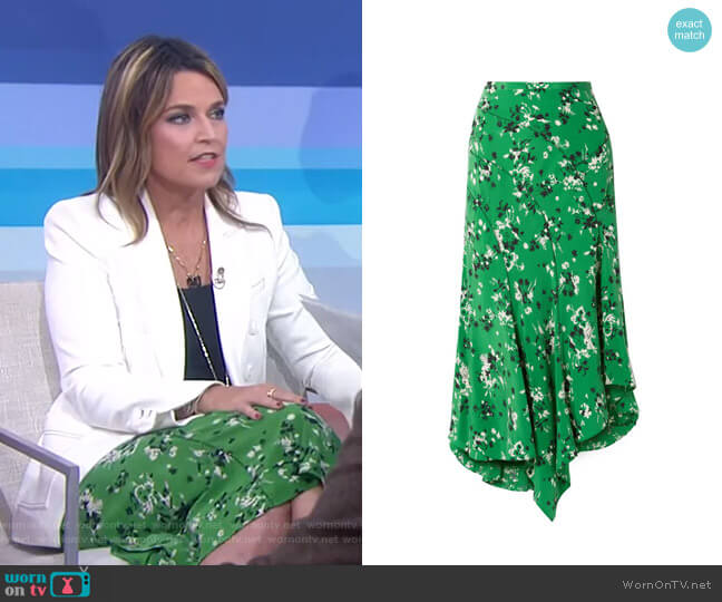 Mac Asymmetric Floral Skirt by Veronica Beard worn by Savannah Guthrie  on Today