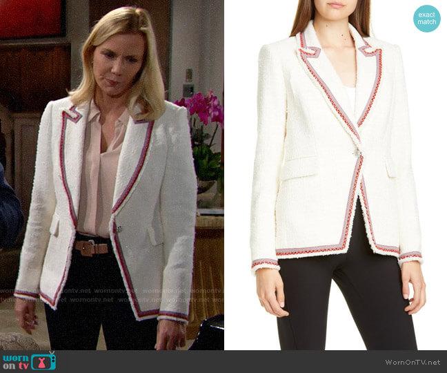 Veronica Beard Raw Edge Cutaway Blazer worn by Brooke Logan (Katherine Kelly Lang) on The Bold & the Beautiful