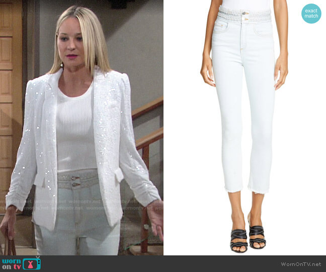 Veronica Beard Carly Braided Waist Kick Flare Jeans worn by Sharon Collins (Sharon Case) on The Young & the Restless