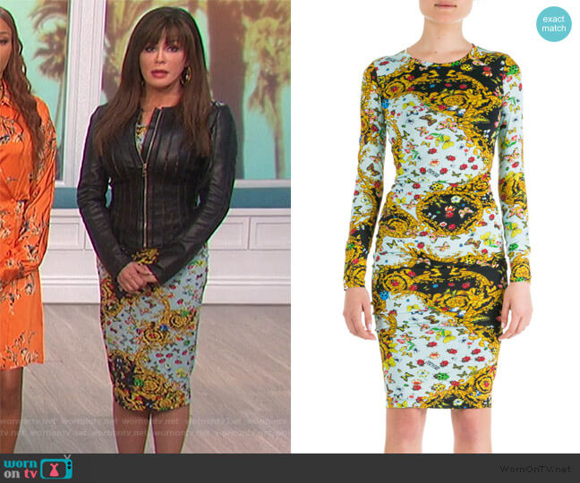 Ladybug Baroque Print Dress by Versace worn by Marie Osmond  on The Talk