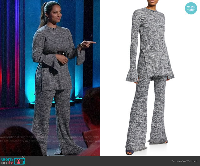 Victoria Beckham Marled Long-Sleeve Keyhole Tunic & Split Flare Pull-On Trousers worn by Lilly Singh  on A Little Late with Lilly Singh