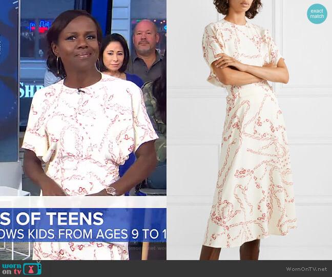 Paneled Printed Midi Dress by Victoria Beckham worn by Deborah Roberts on GMA