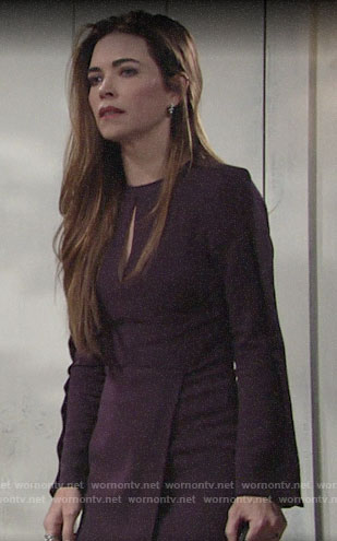 Victoria's dark purple keyhole dress on The Young and the Restless
