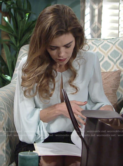 Victoria's mint green keyhole blouse on The Young and the Restless