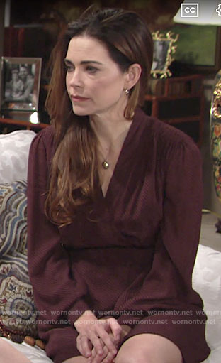 Victoria's red long sleeved dress on The Young and the Restless
