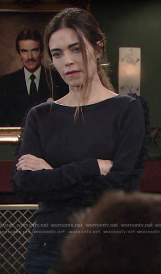 Victoria's sweater with lace ruffle on The Young and the Restless