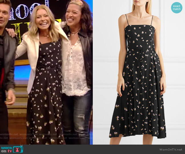 Floral-Print Crinkled-Crepe Midi Dress by Vince worn by Kelly Ripa  on Live with Kelly & Ryan