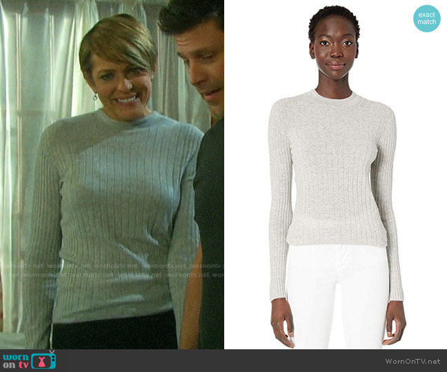 Vince Mixed Rib Long Sleeve Sweater worn by Nicole Walker (Arianne Zucker) on Days of our Lives
