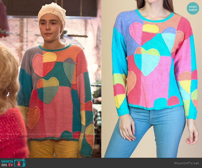 Vintage Colorful Heart Sweater worn by Infinity Jackson (Zoey Deutch) on The Politician