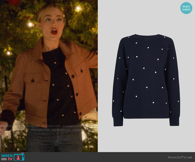 Whistles Heart Embroidered Sweatshirt worn by Ainsley Howard (Rebecca Rittenhouse) on Four Weddings & a Funeral