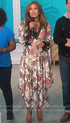 Carrie's white floral dress with lace trim on The Talk
