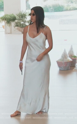 Kourtney's white silk slip dress on Keeping Up with the Kardashians