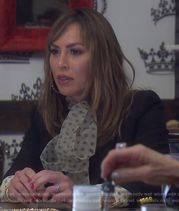 Kelly's white sheer polka dot blouse on The Real Housewives of Orange County