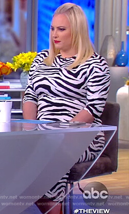 Meghan's white tiger stripe dress on The View