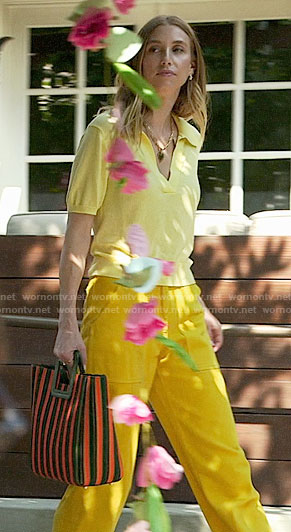 Whitney's yellow polo top outfit and striped bag on The Hills New Beginnings