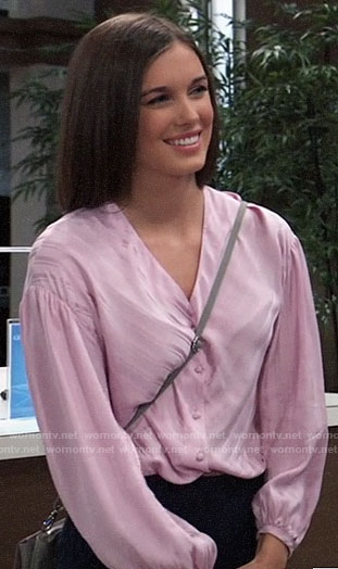 Willow's pink striped v-neck blouse on General Hospital