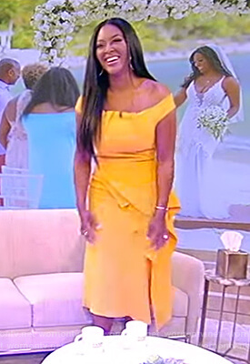 Kenya Moore's yellow ruffle dress on the Tamron Hall Show