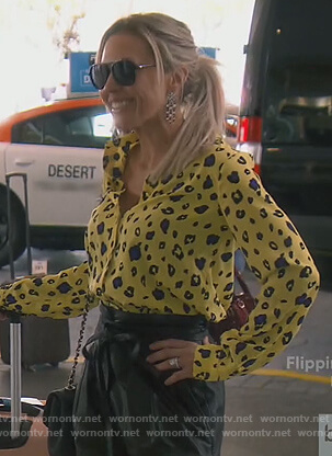 Braunwyn's yellow leopard blouse on The Real Housewives of Orange County