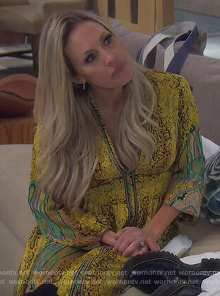 Braunwyn's yellow printed maxi dress on The Real Housewives of Orange County