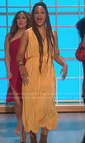 Eve's yellow sleeveless embroidered dress on The Talk