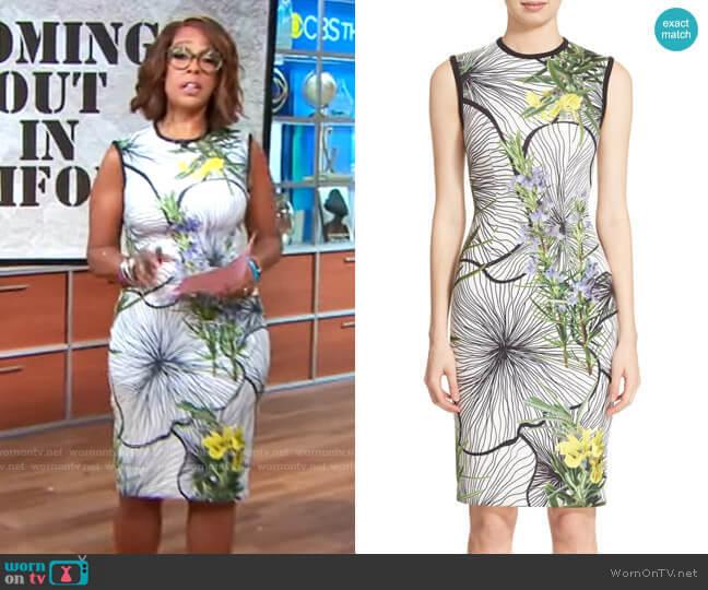 Yigal Azrouel Clockwork Floral Print Scuba Dress worn by Gayle King  on CBS Mornings