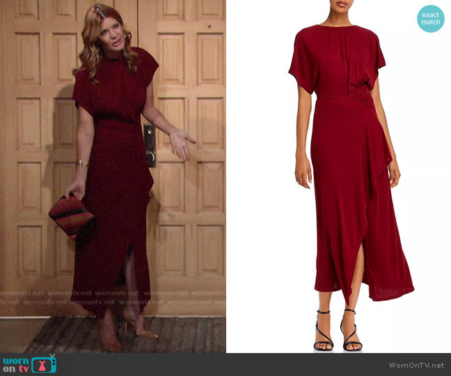 Yigal Azrouel Shirred Asymmetric Jersey Maxi Dress worn by Phyllis Summers (Michelle Stafford) on The Young & the Restless