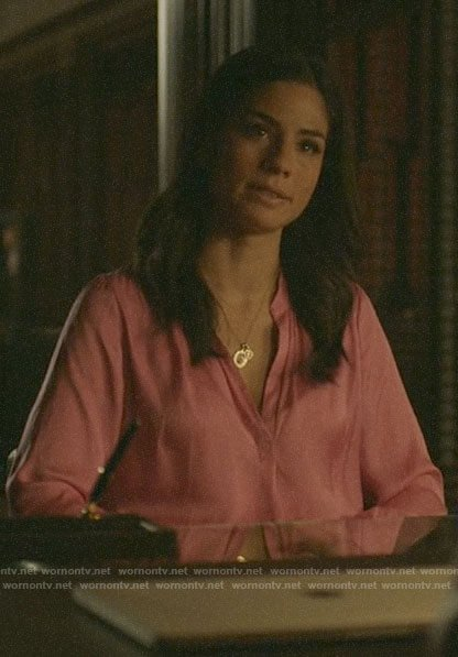 Yoli's pink blouse on Pearson