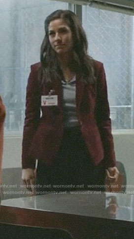 Yoli's red corduroy blazer on Pearson