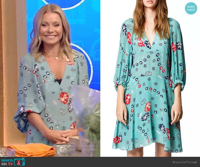 Remi Daisy Printed Silk Dress by Zadig & Voltaire worn by Kelly Ripa  on Live with Kelly & Ryan