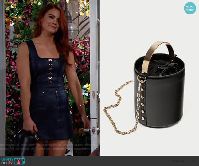 Bucket Bag with Metal Handle by Zara worn by Sally Spectra (Courtney Hope) on The Bold & the Beautiful