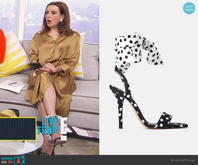 High Heeled Sandals with Polka Dot by Zara worn by Melanie Bromley  on E! News