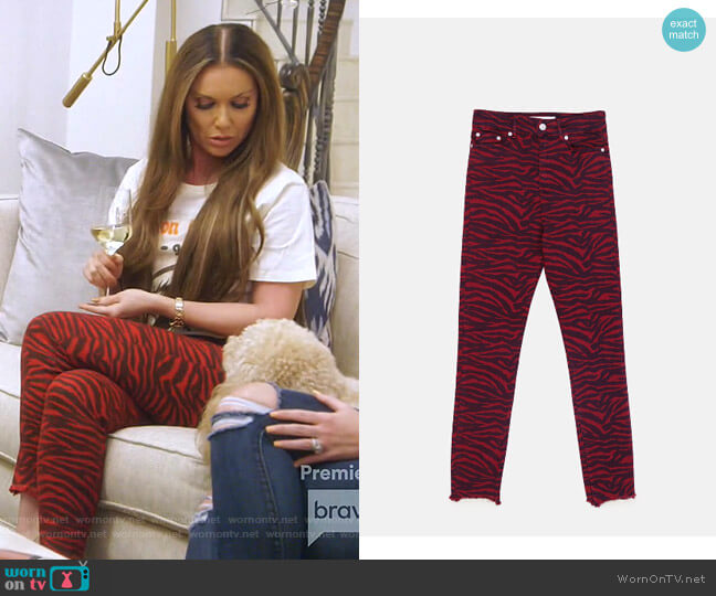 Zebra Jeans by Zara worn by LeeAnne Locken  on The Real Housewives of Dallas