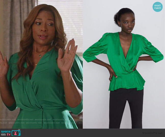 Sateen Wrap Blouse by Zara worn by Poppy (Kimrie Lewis) on Single Parents