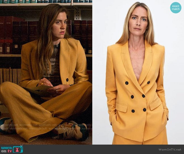 Zara Double Breasted Blazer worn by McAfee (Laura Dreyfuss) on The Politician