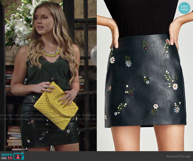 Zara Leather and Flower Embroidered Skirt worn by Zoe Hardisty (Anna Grace Barlow) on The Young & the Restless