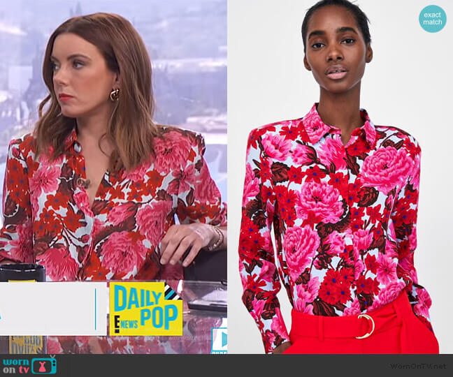 Printed Shirt by Zara worn by Melanie Bromley  on E! News
