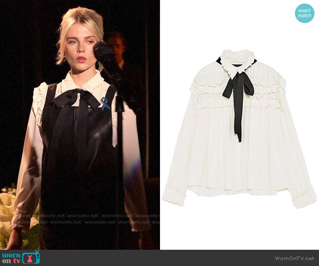 Zara Ruffled Blouse with Contrasting Bow worn by Astrid (Lucy Boynton) on The Politician